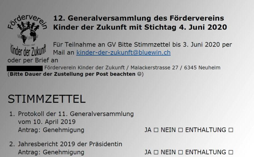 12. Generalversammlung 2020
